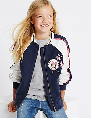 Pure Cotton Bomber Jacket (3-14 Years), NAVY MIX, catlanding
