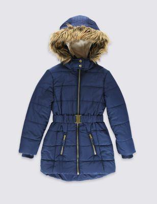 Удлинённое пальто Stormwear™ с поясом и лёгким утеплителем для девочки 3-16 лет