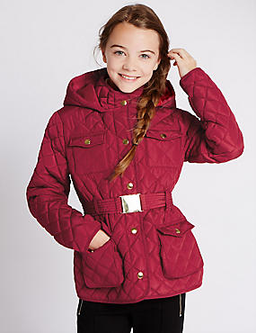 Gesteppter Mantel mit Gürtel und Stormwear™ (3–16 Jahre), MAULBEERE, catlanding