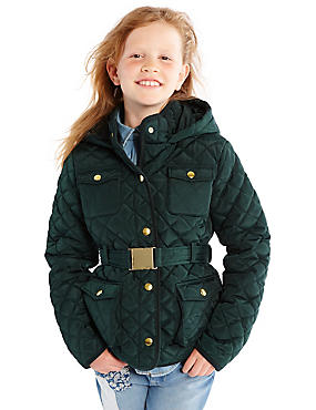 Quilted Belted Coat with Stormwear™ (3-16 Years), GREEN, catlanding