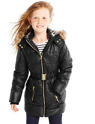 Hooded Belted Coat with Stormwear™ (3-16 Years), BLACK, catlanding