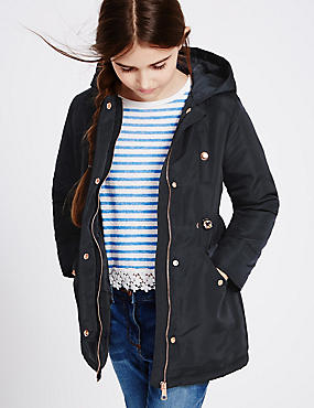 Hooded Parka Coat (3-14 Years), NAVY, catlanding