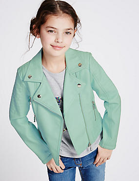 Faux Leather Biker Jacket (3-14 Years), AQUA, catlanding