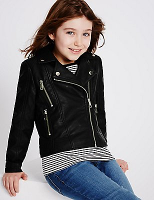 Faux Leather Biker Jacket (3-14 Years), BLACK, catlanding