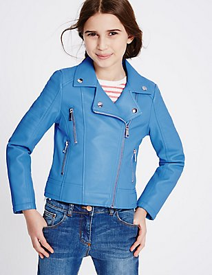 Faux Leather Biker Jacket (3-14 Years), BLUE, catlanding