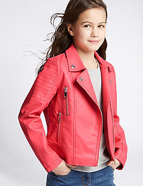 Faux Leather Biker Jacket (3-14 Years), PINK, catlanding