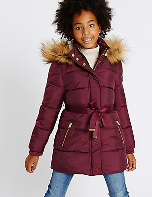 Faux Fur Zip Through Padded Coat with Stormwear™ (3-14 Years), MULBERRY, catlanding