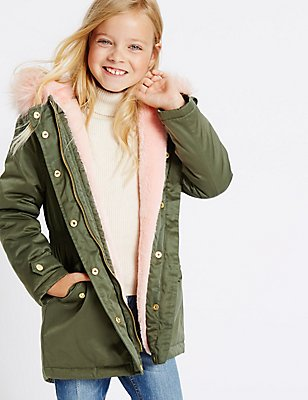 Faux Fur Zip Through Parka (3-14 Years), KHAKI, catlanding