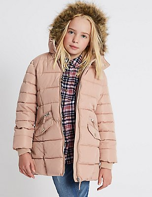 Faux Fur Padded Coat with Stormwear™ (3-14 Years), PINK, catlanding