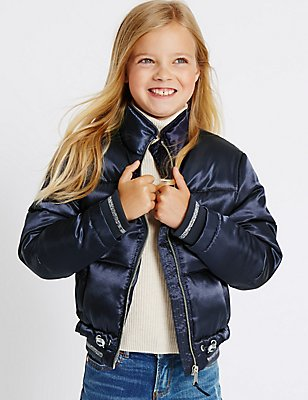 Padded Zip Through Coat (3-14 Years), BLUE, catlanding