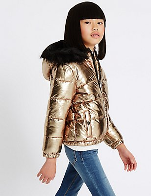 Faux Leather Padded Coat with Stormwear™ (3-14 Years), GOLDEN ROSE, catlanding