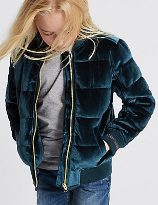 Zipped Through Velvet Bomber Jacket (3-14 Years), TEAL GREEN, catlanding