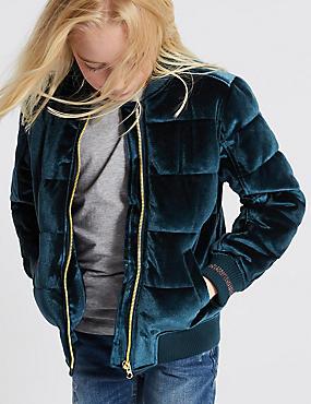 Zipped Through Velvet Bomber Jacket (3-14 Years), TEAL GREEN, catlanding