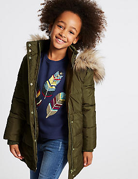 Faux Fur Zipped Through Coat with Stormwear™ (3-14 Years), KHAKI, catlanding