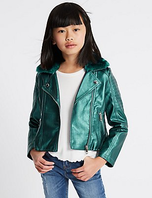Faux Fur Zipped Through Jacket with Stormwear™ (3-14 Years), GREEN, catlanding