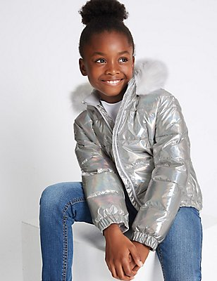 Faux Fur Padded Coat (3-14 Years), SILVER MIX, catlanding