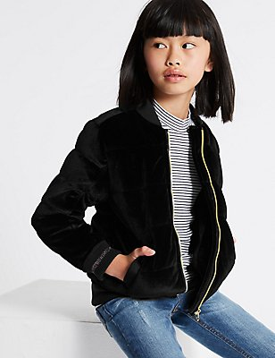 Zipped Through Bomber Jacket (3-14 Years), BLACK, catlanding