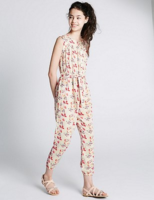 Floral Belted Jumpsuit (5-14 Years), MULTI, catlanding