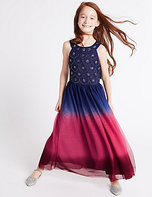 Dip Dye Maxi Dress (3-14 Years), DARK NAVY MIX, catlanding