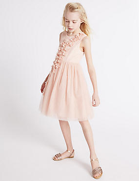 Floral Detail Dress (3-14 Years), PALE PINK, catlanding