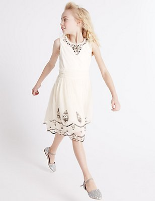 Beaded Dress (3-14 Years), WINTER WHITE, catlanding