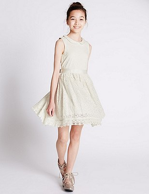 Cotton Rich Floral Lace Dress (5-14 Years), CREAM MIX, catlanding