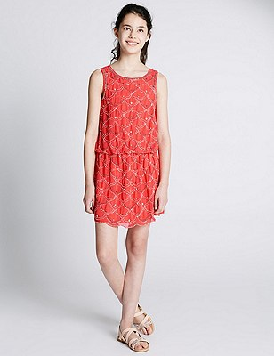 Bead Drop Waist Dress (5-14 Years), FLAME, catlanding