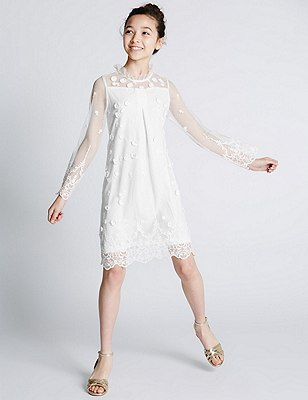 Embroidered Lace Dress (5-14 Years), WHITE, catlanding