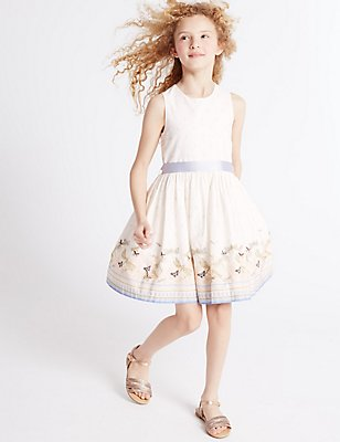 Printed Pure Cotton Dress (3-14 Years), IVORY MIX, catlanding