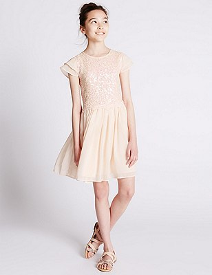Sequin Embellished Pleated Dress (5-14 Years), BLUSH, catlanding