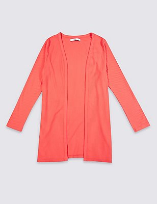 Long Sleeve Jersey Cardigan (3-14 Years), BRIGHT CORAL, catlanding