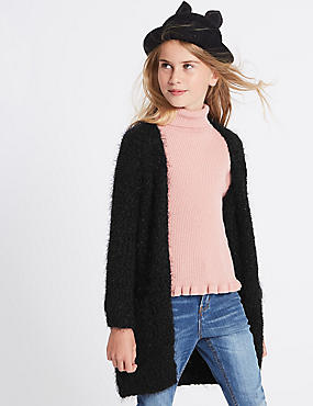 Longline Cardigan (3-14 Years), BLACK, catlanding
