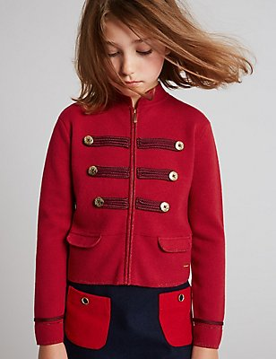 Cotton Rich Long Sleeve Jacket (3-14 Years), SOFT TERRACOTTA, catlanding