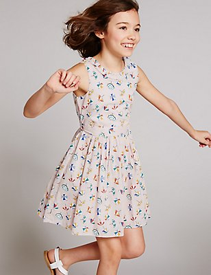 Pure Cotton Printed Dress with Belt (3-14 Years), PINK MIX, catlanding
