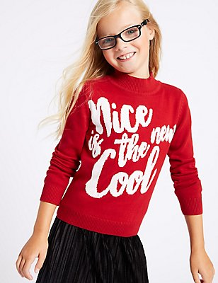 Pure Cotton Jumper (3-14 Years), RED, catlanding