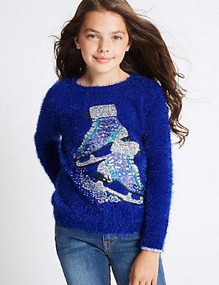 Sequin Crew Neck Jumper (3-14 Years), BLUE MIX, catlanding