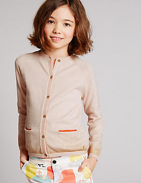 Cotton Rich Glitter Cardigan (3-14 Years), PALE PINK, catlanding