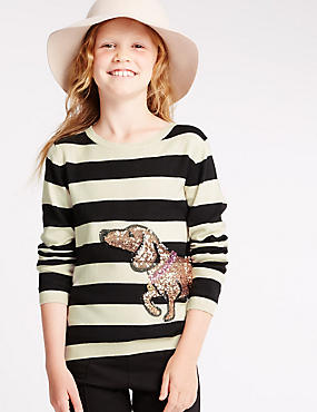 Long Sleeve Striped Jumper (5-14 Years), OATMEAL MIX, catlanding