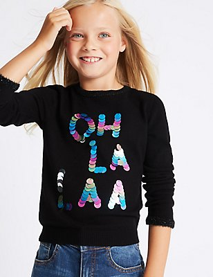 Sequin Jumper (3-14 Years), BLACK MIX, catlanding