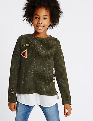 Cotton Rich Embroidered Jumper (3-14 Years), KHAKI MIX, catlanding