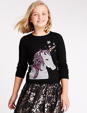Long Sleeve Unicorn Sequin Jumper (5-14 Years), BLACK MIX, catlanding