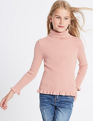 Cotton Rich Frill Jumper (3-14 Years), ANTIQUE ROSE, catlanding