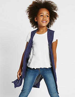 Cotton Rich Longline Cardigan (3-14 Years), NAVY, catlanding