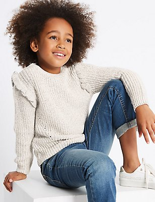 Cotton Rich Frill Jumper (3-14 Years), CREAM, catlanding