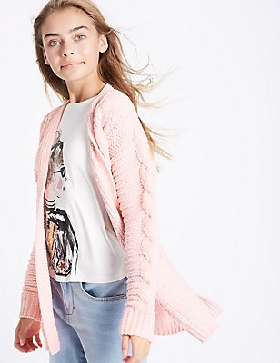 Cable Knit Open Front Cardigan (3-14 Years), ANTIQUE ROSE, catlanding