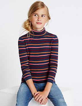Pure Cotton Striped Roll Neck Jumper (3-14 Years), CRANBERRY, catlanding