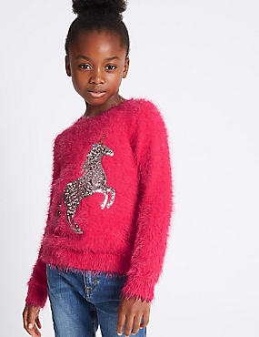 Sequins Eyelash Jumper (3-14 Years), HOT PINK, catlanding