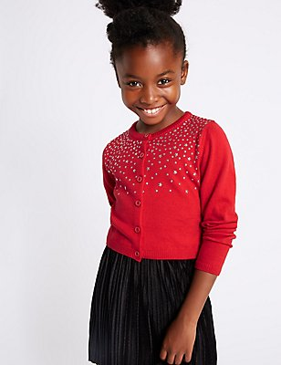 Pure Cotton Star Embellished Cardigan (3-14 Years), LACQUER RED, catlanding