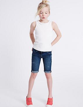Denim Shorts with Adjustable Waist (3-14 Years), DARK DENIM, catlanding