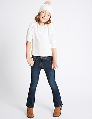Cotton Flare Jeans with Stretch (3-14 Years), MED BLUE DENIM, catlanding